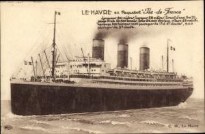 Ak Le Havre Seine Maritime, Paquebot Ile de France, CGT, Passagierschiff