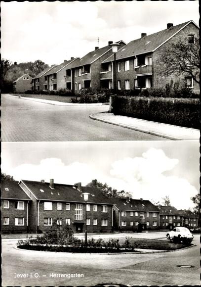 Ak Jever in Friesland, Herrengarten, Straßenpartie, Wohnhäuser