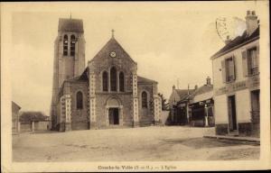Ak Combs la Ville Seine et Marne, L'Eglise, Kirche, Geschäftshaus H. Simon