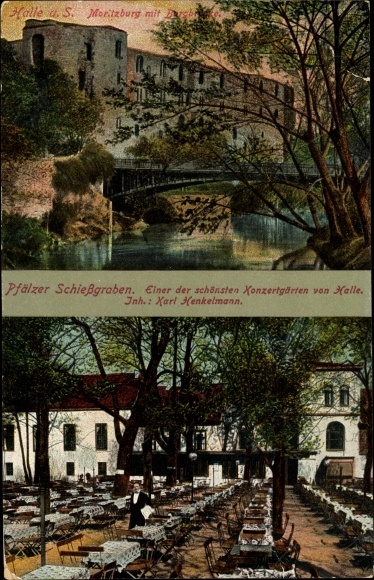 Ak Halle an der Saale, Moritzburg mit Burgbrücke, Pfälzer Schießgraben, Inh. Karl Henkelmann