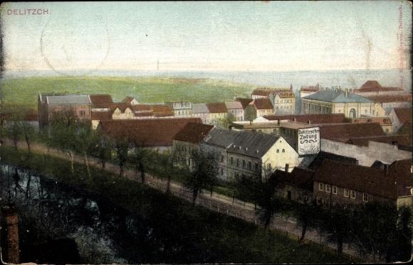 Ak Delitzsch in Sachsen, Teilansicht der Stadt, Delitzscher Zeitung