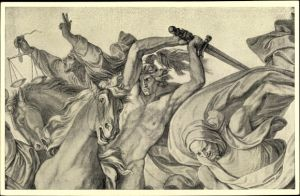Künstler Ak Cornelius, Peter, Krieg, Tod und Teuerung, Pferde, Schwert, Waage