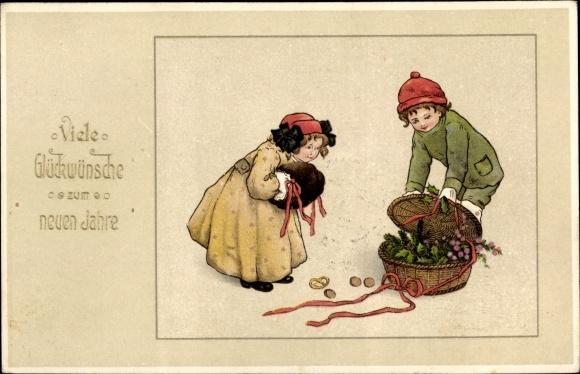 Präge Litho Glückwunsch Neujahr, Mädchen, Muff, Junge, Korb, Stechpalmenzweige