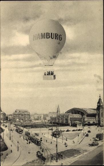 Ak Hamburg, Heißluftballon, Straßenbahn, Brücke, Boot, Jungfernstieg
