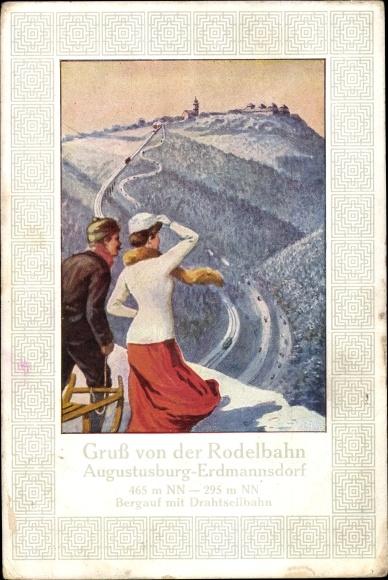 Künstler Ak Erdmannsdorf Augustusburg im Erzgebirge, Rodelbahn, Schlittenfahrer