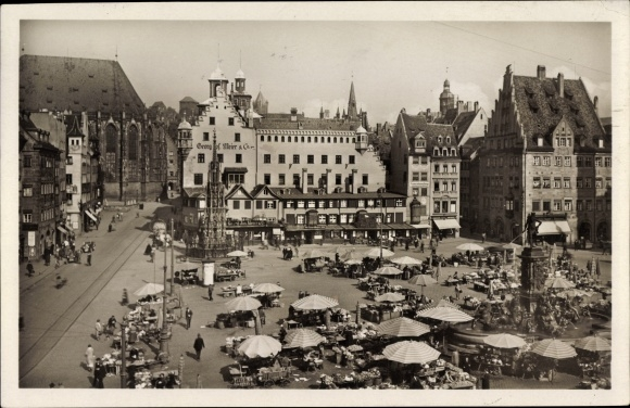 Ak Nürnberg in Mittelfranken Bayern, Hauptmarkt, Brunnen, Stände, G. Georg Meier & Co., Passanten