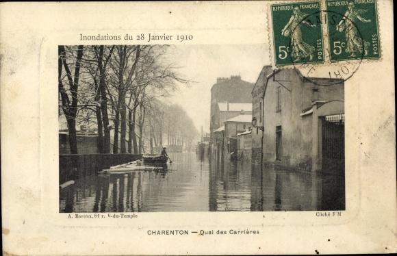 Ak Charenton Val de Marne, Quai des Carrières, Inondations du 28 Janvier 1910