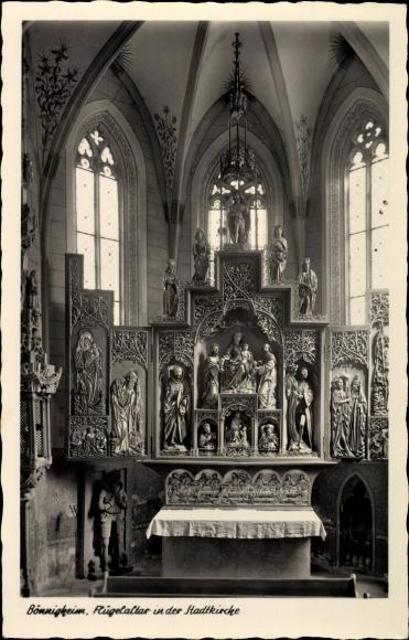 Ak Bönnigheim in Baden Württemberg, Flügelaltar, Stadtkirche, Innenansicht