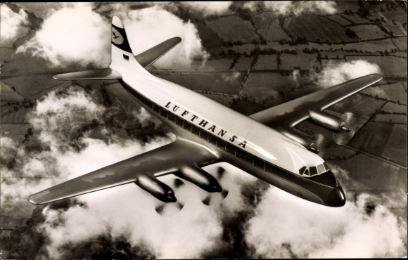 Ak Lufthansa Viscount 814, Passagierflugzeug, Fliegeraufnahme, Lufthansa