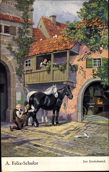 Künstler Ak Felix Schulze, A., Der Dorfschmied, Hufschmied beim Beschlagen von Pferden