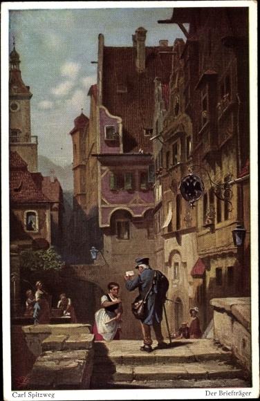 Künstler Ak Spitzweg, Carl, Der Briefträger, Primus No. 3059