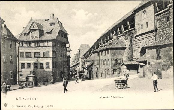 Ak Nürnberg in Mittelfranken Bayern, Partie am Albrecht Dürerhaus