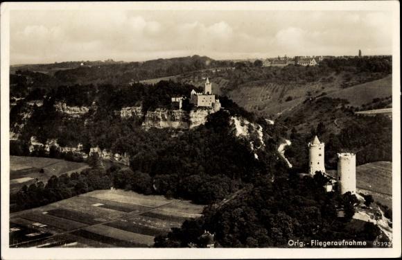 Ak Bad Kösen Naumburg an der Saale, Panorama von Ortschaft u. Burgwirtschaft Rudelsburg