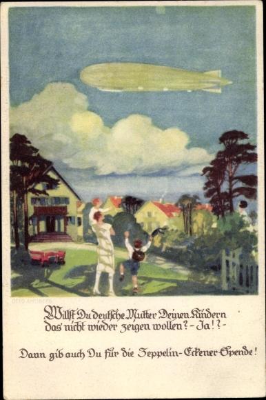 Künstler Ak Amtsberg, Otto, Zeppelin über einem Dorf, Eckener Spende