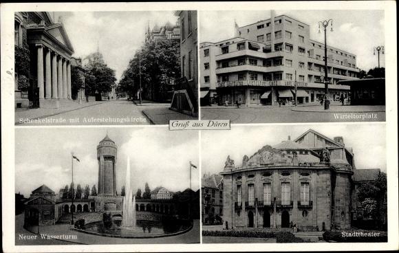 Ak Düren, Schenkelstraße m. Auferstehungskirche, Wirteltorplatz, Neuer Wasserturm, Stadttheater