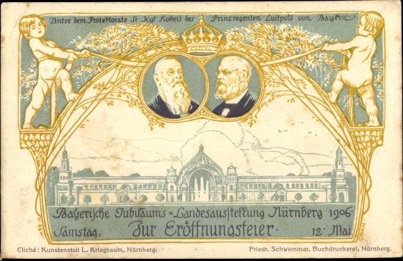 Litho Nürnberg in Mittelfranken Bayern, Landesausstellung 1906, Prinzregent Luitpold von Bayern