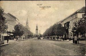 Ak Sowjetsk Tilsit Ostpreußen, Deutsche Straße, Straßenpartie