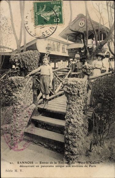 Ak Sannois Val d'Oise, Entrée de la Terrasse du Père la Galette