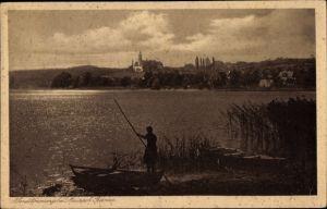 Ak Birnau Uhldingen Mühlhofen am Bodensee, Abendstimmung am See, Bootpartie