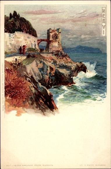 Künstler Litho Wielandt, Manuel, Nervi Genova Genua Liguria, Küstenpartie, Turm