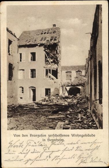 Ak Cernay Sennheim Elsass Haut Rhin, Von den Franzosen zerschossenes Wohngebäude, I. WK