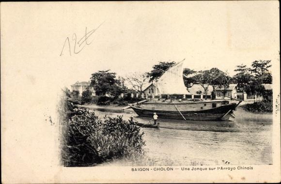 Ak Chợ Lớn Cholon Saigon Cochinchine Vietnam, Une jonque sur l'arroyo chinois, Dschunke