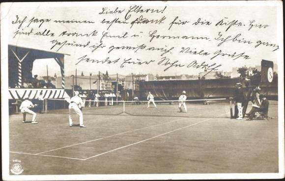 Ak Tennisspiel, Tennis Doppel, Tennisplatz, NPG 216/10