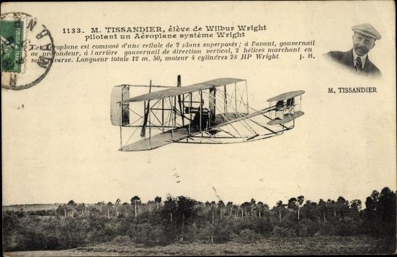 Ak Tissander, élève de Wilbur Wright pilotant un aéroplane système Wright