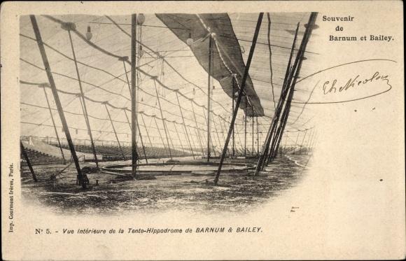 Ak Vue intérieure de la Tente Hippodrome de Barnum & Bailey, Zirkuszelt