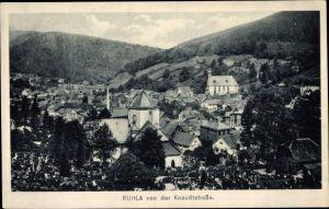 Ak Ruhla in Westthüringen, Blick von der Knaudtstraße auf den Ort, Kirche