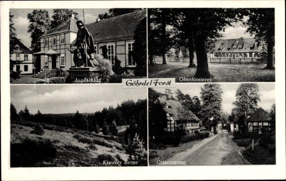 Ak Göhrde Gartow in Niedersachsen, Oberförsterei, Jagdschloss, Kreuzer Berge, Ortseingang