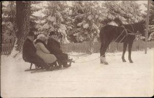 Foto Ak Pferd zieht einen Schlitten, Drei Passagiere, Wintersport