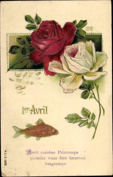 Präge Litho 1er Avril, 1. April, weiße und rote Rose, Fisch
