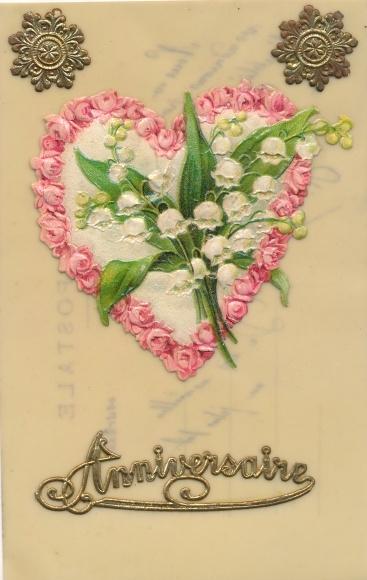 Zelluloid Material Ak Anniversaire, Glückwunsch Geburtstag, Herz aus Rosen, Maigklöckchen