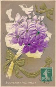 Glitzer Präge Litho Souvenir Affectueux, Blumenstrauß, lila Blüten, Schleifen