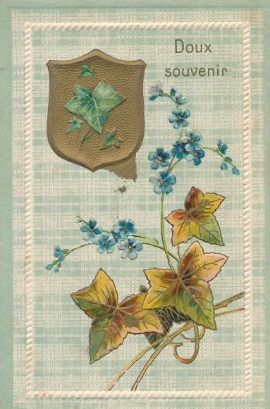 Präge Litho Doux Souvenir, Wappen, Efeublätter, Ranke, Vergissmeinnicht