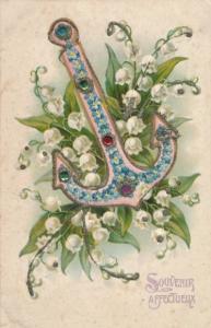 Glitzer Präge Litho Souvenir Affectueux, Anker, Blumenbild aus Vergissmeinnicht, Maiglöckchen