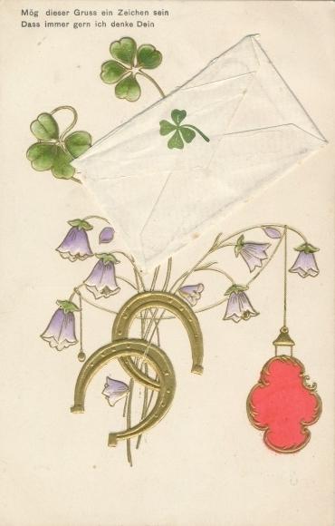 Präge Klapp Ak Briefumschlag, Kleeblätter, Hufeisen, Glockenblumen, Siegel