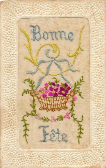 Seidenstick Ak Bonne Fete, Glückwunsch Geburtstag, Korb mit Blumen