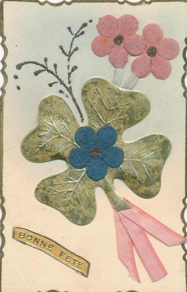 Glitzer Material Ak Bonne Fete, Glückwunsch Geburtstag, Kleeblatt, Blumen, Schleife