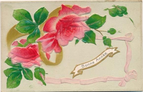Präge Stoff Ak Bonne Année, Glückwunsch Neujahr, Rosen, Blüten und Knospen