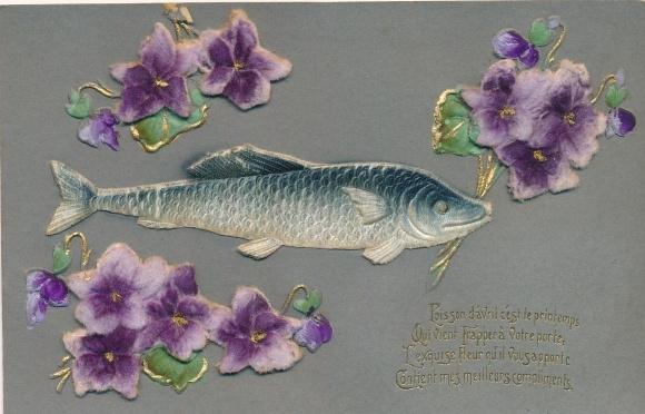 Präge Stoff Ak 1er Avril, 1. April, Poisson, Fisch, Blumen, Veilchen