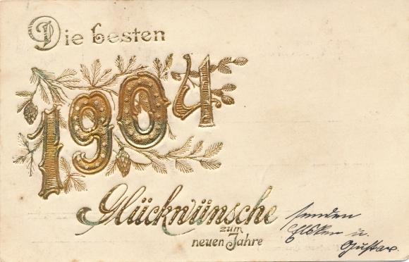 Präge Litho Glückwunsch Neujahr, Jahreszahl 1904, Tannenzweige mit Zapfen