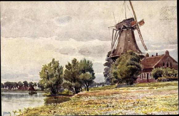 Künstler Ak John, Eugen, Ostfriesische Mühle, Windmühle, Uferpartie