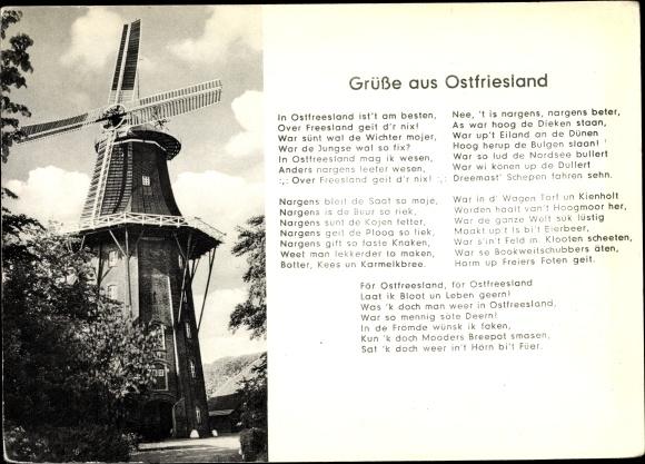 Ak Ostfriesland, Windmühle, Gedicht In Ostfreesland ist't am besten