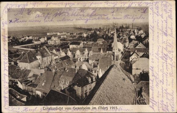 Ak Cernay Sennheim Elsass Haut Rhin, Totalansicht, Kirche, Vogelschau