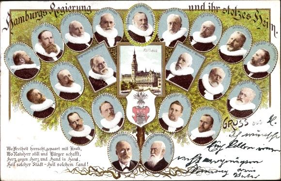 Ak Hamburg, Regierung und ihr stolzes Heim, Portraits der Mitglieder, Rathaus, Wappen, Gedicht