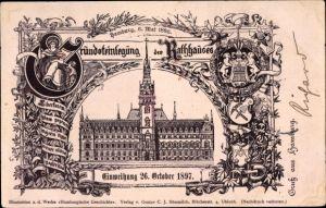 Litho Hamburg Mitte Altstadt, Grundsteinlegung vom Rathaus, Einweihung 27.10.1897