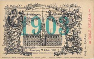 Künstler Ak Hamburg Mitte Altstadt, Rathaus, Einweihung 26.10.1897