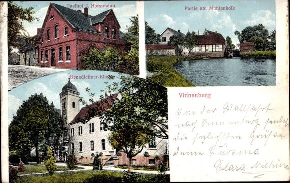 Ak Vinnenberg Milte Warendorf in Westfalen, Gasthof J. Horstmann, Mühlenkolk, Benediktinerkloster